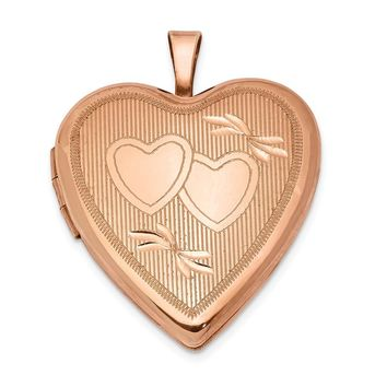 925 Sterling Silver Rose Gold-plated 20mm Double Hearts Heart Locket