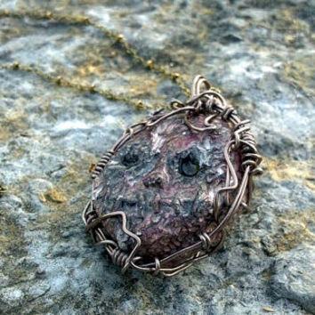 Melting Burnt Face Pendant - Scarred Doll Head - Creepy Oozing Gooey -  Steampunk Horror Scary Necklace