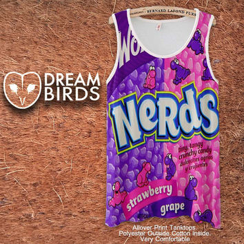 Nerds Willy Wonka Fullprint Adult Tanktop. Men and Ladies Tanktop