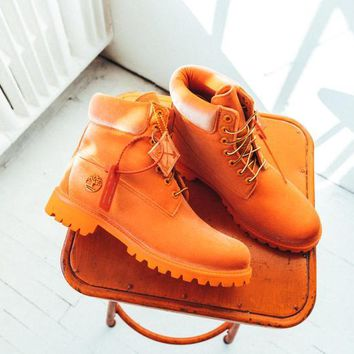 YYY Virgil Abloh OFF-WHITE x Timberland Velvet Hiking Boots Orange