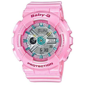 Casio Womens Baby-G - Analog-Digital - Pink Pastel 3-D Face - 100M - Stopwatch