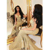 Real Images Gold Evening Dresses Sequined Sexy Spaghetti Straps Long Mermaid Evening Gowns Front Slit Ruffles Bling Prom Dresses