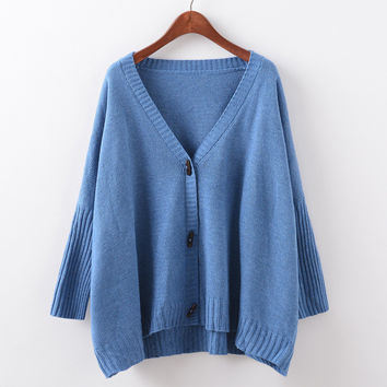 Batwing Sleeve Knit Tops V-neck Sweater Jacket [9067783044]