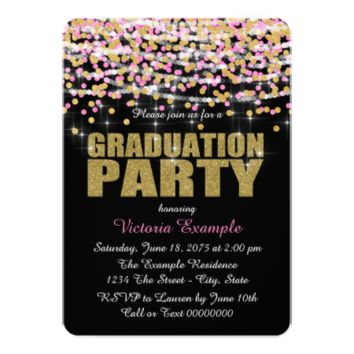 Pink and Gold Confetti Graduation Party 5x7 Paper Invitation Card
