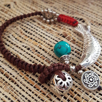 Handmade bracelet Vintage traditional style braided Silver Fish Kallaite pendant/Charm Turquoise Silver Small ball charm Statement bracelet