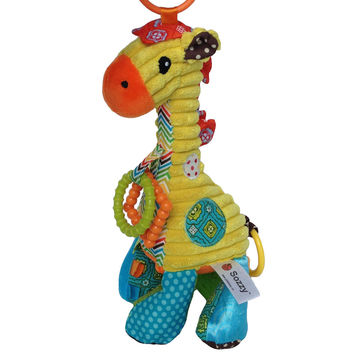 musical soft Baby toys giraffe cartoon animal Infant todder Kid christmas gift stuffed plush bed cradle strollers hanging doll