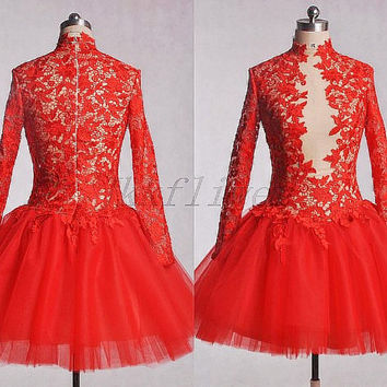 Vintage 1980s Red Sheer High Neck Lace Prom Dresses,Full Sleees Tulle Party Dresses,Short Red Homecoming Dresses