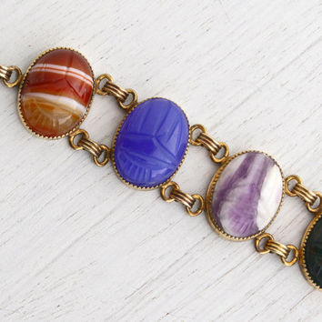Vintage 12K Yellow Gold Filled Scarab Bracelet - Huge Statement Semi Precious Stone Egyptian Revival Jewelry / Colossal Carved Beetles