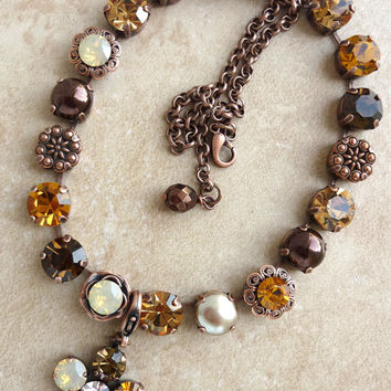 swarovski crystal flower pendant-  neutral Fall colors- compatible with Sabika and siggy Jewelry-GREAT DEAL