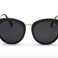 Retro Black Round Sunglasses with Gold Trim : 100% UV Protection, Classic Eyewear, Glasses, Sunglasses