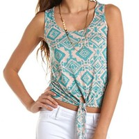 Chiffon Back Tie-Front Tank: Charlotte Russe
