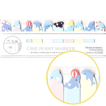 Tiny Dolphin Killer Whales Shaped Sticky Post-it Memo Bookmark Tabs | Cute Sea Creatures Themed Affordable Stationery