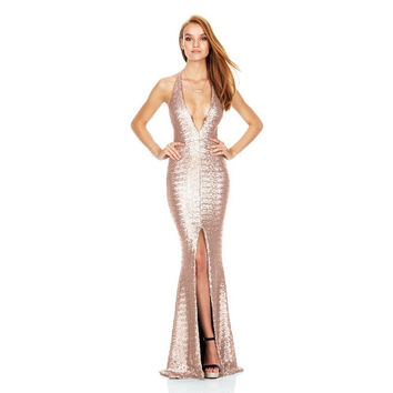 Sexy Front Split Gold Sequins Spaghetti Straps Party Dress Deep V Neck Balck Sequined Dress Backless Cocktail Party Long Dresses