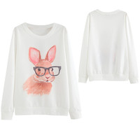 White Rabbit Pattern Long Sleeve Sweatshirt