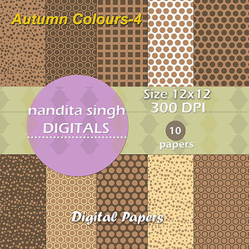 Autumn Coloured Instant Downloadable Digital Papers,Scrapbooking,Backgrounds,Patterned Papers,Craft,Fall,Brown,Personal and Commercial Use