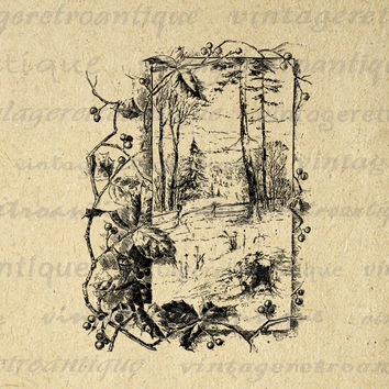 Winter Forest Printable Image Graphic Download Digital Artwork Vintage Clip Art for Transfers Making Prints etc HQ 300dpi No.2316