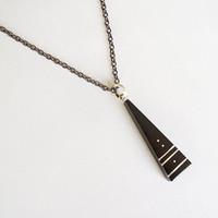 Triangle Geometric Hipster pendant Ebony and Sterling Silver, black plated chain - Women or Men Necklace - Men Jewelry -  Hipster Necklace