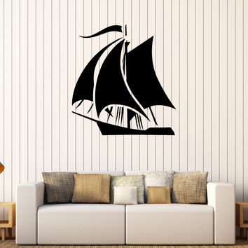 Vinyl Wall Stickers Ship Journey Yacht Travel Kids Room Decoration Decal Unique Gift (248ig)