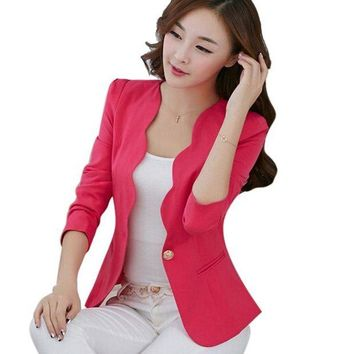 DCCKFV3 Pink Casual Business Blazer Suit Women One Button Jacket Coat Outwear Blazer Candy Color 2017 Faddish women blazers and jackets