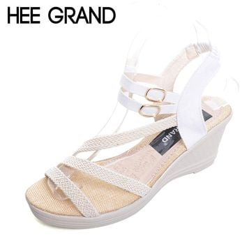 HEE GRAND Platform Gladiator Sandals 2017 Casual Wedges Sandals Summer Slip On Shoes Woman Plus Size 35-41 Creepers XWZ3548