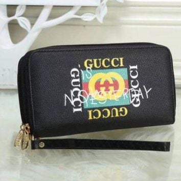 Gucci New Fashion Women Leather Zipper Wallet Purse