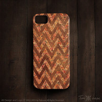 Chevron iPhone 4 case - iPhone 4s case, iPhone 5 case, High quality 3D printing - chevron with flower on leather (c121)