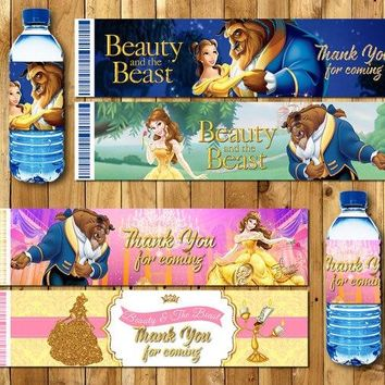 Beauty And The Beast Bottle Water Labels Birthday Party Decorations Kids Party Supplies Candy Bar Wrappers Baby Shower