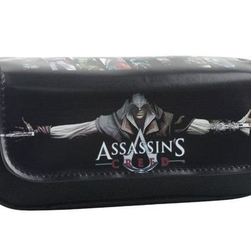 Assassins Creed Pen Bag Game Anime Students Canvas Leather Pen Pencil Bags Multifunctional Double Zipper Stationery Purse Wallet