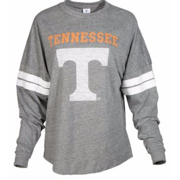 Official NCAA University of Tennessee Volunteers, Knoxville Vols UT UTK Women's Long Sleeve Tri- Blend Football T-Shirt