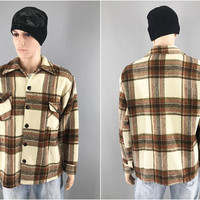 1950s Vintage / Brown Plaid Flannel Shirt / Heavy Flannel Shirt Jacket / Button Front / No tags / Size XL 46 / Warm Winter Shirt Jacket
