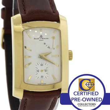 Baume Mercier Hampton Milleis 18k Yellow Gold Power Reserve Watch 65302