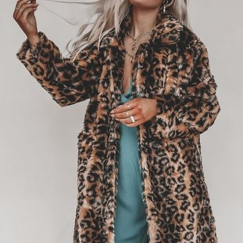 Simone Leopard Printed Fur Long Coat