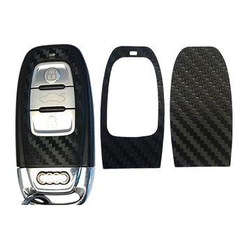 1Set Black Carbon Fiber Car Key Sticker for Audi A4 A6 RS4 A5 A7 A8 S5 RS5 8T Q5 S5 S6 Car Key Refitting Accessories