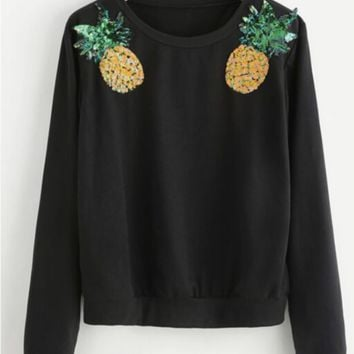 Hot Bling Pineapple Print Casual Long Sleeve Sport Top Sweater Pullover