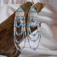 Hand Beaded Earrings, Brick Stitch, Silver, White and Blue Czech Glass Seed Beads, Light Blue Swarovski Crystals, Handmade