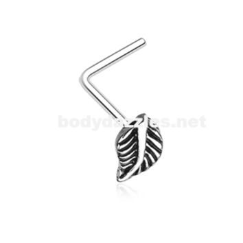 Silver Vintage Leaf Icon L-Shaped Nose Ring 20ga Body Jewelry