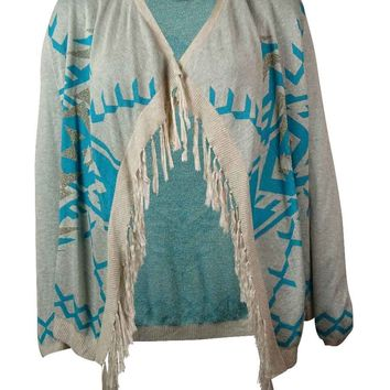 INC International Concepts Women's Fringed Sweater Cardigan