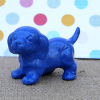 Upcycled Ceramic Dog, Vintage, Whimsical Dog Sculpture, Fun Animal Figurine, Repurposed, Small Puppy, Cute Decor, Bright Blue, Royal Blue