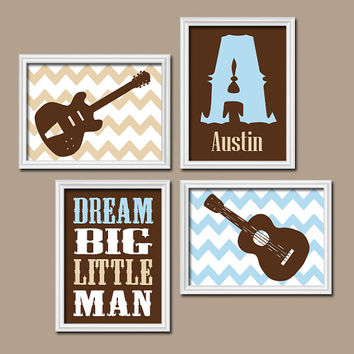 Boy Guitar Wall Art Baby Boy Nursery Artwork Music Nursery Rock n Roll Nursery Wall Art Chevron Monogram Name Set of 4 Boy NURSERY Decor