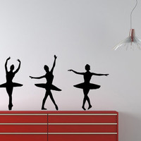 Three Dancers Girls Ballet Ballerina Sport Home Wall Housewares Vinyl Decal Art Decor Removable Stylish Sticker Unique Design Room V501
