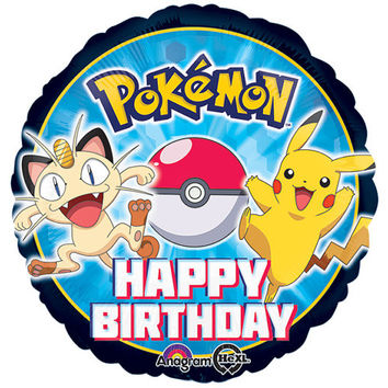 "POKEMON 17"" Mylar BALLOON Pikachu Happy Birthday Party Supplies Decorations Centerpiece Photo Prop Backdrop"