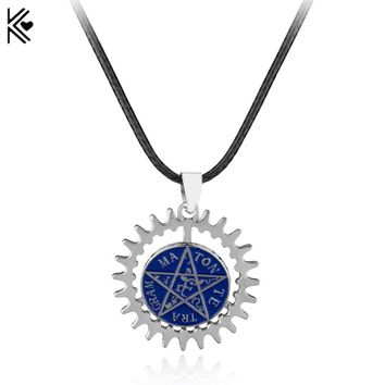 Gothic Wiccan Jewelry Pagan Supernatural Tetragrammaton Pentagram Pentacle Male Pendant Necklace Black Butler Pentagram Pendant