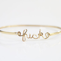 Single Gold Brass fuck Bracelet by screwords on Etsy
