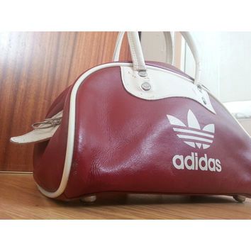 70 80s Vintage Red   White Trefoil Adidas Bag Sports Retro 8b9aa5ddb029c