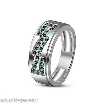 White Gold Over 925 Sterling Round Cut Emerald Heavy Wedding Band Ring For Men's