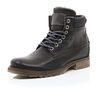 River Island MensBrown leather padded collar lace up boots