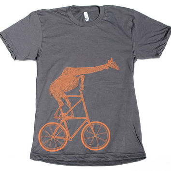 Mens Shirt -  GIRAFFE tall BIKE T Shirt X S S M L XL X X L (Asphalt Gray)