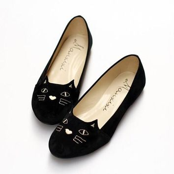 Black Round Toe Cat Print Embroidery Cute Flat Ankle Shoes