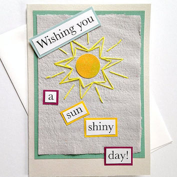 Wishing you a Sun Shiny Day Hand-Stitched Greeting Card on Handmade Paper - Friendship, Thinking of You, Encouragement, Mother's Day