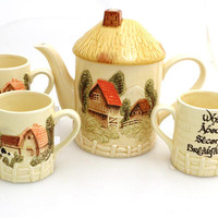 The Hobbit teapot, Tea set, teapot and THREE cups, I'd rather be in the shire, second breakfast mug